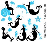 set of beautiful mermaid girl... | Shutterstock . vector #556483048