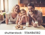 cute little girl and her... | Shutterstock . vector #556486582