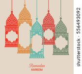 ramadan kareem card with...   Shutterstock .eps vector #556493092