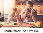cute little girl and her... | Shutterstock . vector #556495156