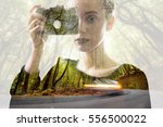 portrait of young woman with... | Shutterstock . vector #556500022