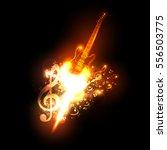 neon guitar fire design easy... | Shutterstock .eps vector #556503775