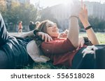young beautiful couple in love... | Shutterstock . vector #556518028