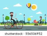 man on bicycle and young woman... | Shutterstock .eps vector #556536952