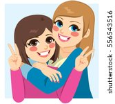two lovely happy best friends... | Shutterstock .eps vector #556543516