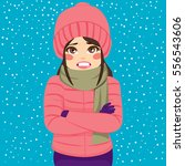 Woman Shivering In Cold Winter...