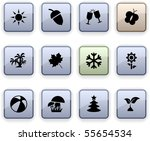 seasons set of square dim icons. | Shutterstock .eps vector #55654534