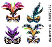 carnival masks icons set with... | Shutterstock .eps vector #556552192