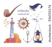 watercolor nautical set. hand... | Shutterstock . vector #556553176