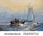 fisherman  boats  sea.oil... | Shutterstock . vector #556554712