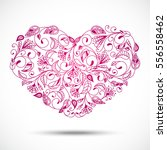 postcard heart of love flower... | Shutterstock . vector #556558462
