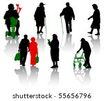 Stock vector silhouette of old and disabled people 55656796