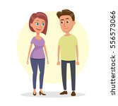 the guy and the girl getting... | Shutterstock .eps vector #556573066