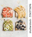 healthy breakfast toasts....   Shutterstock . vector #556573696