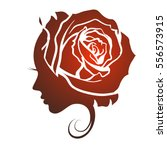 female profile face in rose... | Shutterstock .eps vector #556573915