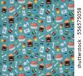 vector cartoon seamless pattern ... | Shutterstock .eps vector #556575058