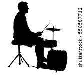 silhouette musician drummer on... | Shutterstock .eps vector #556587712