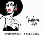 black and white fashion woman ... | Shutterstock .eps vector #556588852