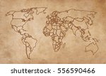 world map on an old piece of... | Shutterstock .eps vector #556590466