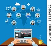 male freelancer working... | Shutterstock .eps vector #556590922