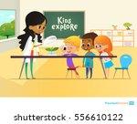 smiling teacher and children... | Shutterstock .eps vector #556610122