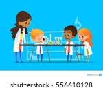 female teacher demonstrates... | Shutterstock .eps vector #556610128