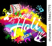 happy holi  a spring festival... | Shutterstock .eps vector #556617775