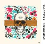 human skull drawn in vintage...   Shutterstock .eps vector #556622446