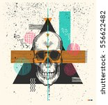 human skull drawn in woodcut... | Shutterstock .eps vector #556622482