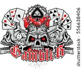 poker coat of arms with skull... | Shutterstock .eps vector #556638406