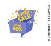 open blue gift box and confetti.... | Shutterstock .eps vector #556639006