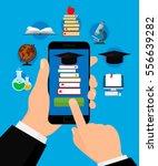 online education concept. hand... | Shutterstock .eps vector #556639282