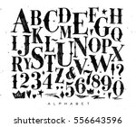 retro gothic font drawing on... | Shutterstock . vector #556643596
