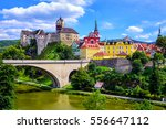 colorful town and castle loket... | Shutterstock . vector #556647112