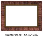 Redwood with gold rectangular frame isolated on white background. Computer generated 3D photo rendering. - stock photo