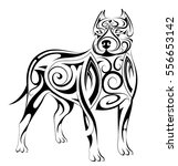 dog tattoo with ethnic style... | Shutterstock .eps vector #556653142