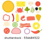 set ingredients for pizza. flat ... | Shutterstock .eps vector #556684522