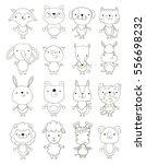 set of cute cartoon animals outlines. vector