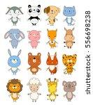 set of cute cartoon animals.... | Shutterstock .eps vector #556698238