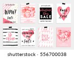 Stock vector collection of pink black white colored valentine s day card sale and other flyer templates with 556700038