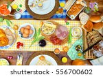 breakfast or brunch table... | Shutterstock . vector #556700602