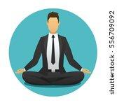 yoga man icon. businessman... | Shutterstock .eps vector #556709092