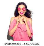 beauty joyful young fashion... | Shutterstock . vector #556709632