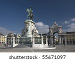 The equestrian statue of King José I is located in the center of the majestic Commerce Square in Lisbon. - stock photo