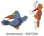 raven and woodpecker | Shutterstock .eps vector #5567236