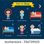 various tips for good sleep... | Shutterstock .eps vector #556739425