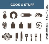 cook meat icons set for badges...   Shutterstock .eps vector #556742182