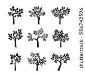 set black trees. vector... | Shutterstock .eps vector #556742596