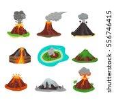 volcano set vector illustration.   Shutterstock .eps vector #556746415