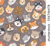 Stock vector dogs heads seamless pattern background vector set 556746478